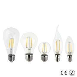 10PCS E27 E14 E12 Dimmable led Filament bulb 4w 8w 12w 16w High Power Glass globe bulb 110V 220V 240V Retro led Edison lamp candle lightS