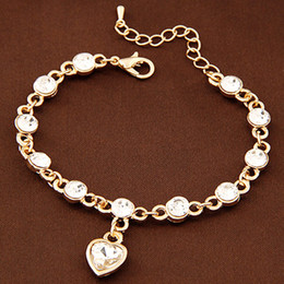 Fashion Gold Bracelets Bangles For Women Crystal Link Chain Heart One Direction Charm Bracelets High Quality bracelet femme