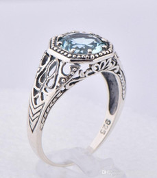 Wholesale 2014 new sterling silver ring Austria aquamarine creative fashion jewellery beautiful color topaz stone ring