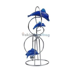 Wholesale V1NF Blue Dolphin Ornaments Crafts Decorations Pendulum Perpetual Motion Ball