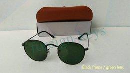 Lunettes de soleil en métal de qualité supérieure en gros de qualité Lunettes de vue de designer en miroir Lunettes en or Vert Flash 50mm lentilles en verre pour les femmes Hommes à partir de meilleures lunettes de soleil gros fournisseurs