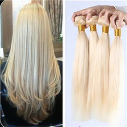 Peut teindre remy extensions de cheveux à vendre-Hot vente remy Blonde cheveux humains trame cheveux raides 3 faisceaux brazilian extensions indiens péruviens vierges humains cheveux # 613 couleur peut être colorant