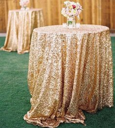 Wholesale New Bling Rose Gold Sequins Table Cloth Wedding Party Round Wedding Decorations Silver Purple Royal Blue Pink Dress Fabric