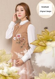Women's Autumn literary vintage linen Chinese stylish vest