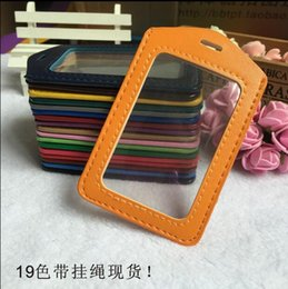 Wholesale faux leather Badges Holders Transparent Work Permit Card Case Papers Case With Lanyard