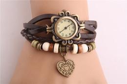 2015 de la Vendimia de las Mujeres Relojes de Cuero de Melocotón corazón de la Pulsera de la Moda Retro de la Armadura de Envoltura de Reloj de Pulsera de Cuarzo relojes de Pulsera Para Damas de Alta Calidad desde cuero reloj pulsera corazón fabricantes