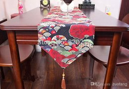 High End New Cotton Fan Pattern Dining Room Table Runners Decorative Coffee Table Cloths Chinese style Bed Runner L200 x W30cm 1