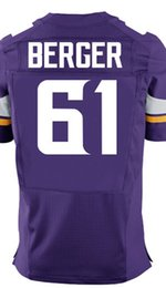 Wholesale Factory Outlet Men s Joe Berger Jersey Elite Purple White Stitched Name And Number