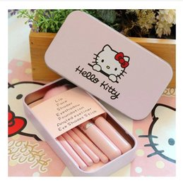 Wholesale 7pcs set Hello Kitty Make Up Cosmetic Brush Kit Makeup Brushes Pink Iron Case Toiletry makeup tools Beauty Appliances pincel maquiagem pince