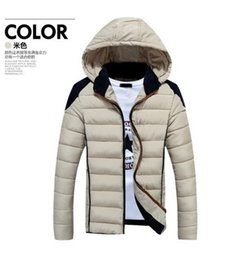 Wholesale Fall cultivate one s morality men s jacket zipper hooded youth thickening cotton padded jacket polyester fiber Rice White