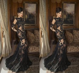 2016 Sexy Black Long Evening Dresses Cheap Lace Applique Bateau Neckline Long Sleeves Mermaid Prom Party Gowns Custom Made Designer