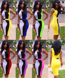 Wholesale Fashion Sexy Women s Bandage Club Casual Dress Bodycon Mini Dress Party Bandage Body con Black White Yellow Blue Clubwear Dress TY232