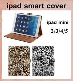 Air en cuir libre en Ligne-Magnétique Smart case Cover imprimé Léopard étui en Cuir PU pour Apple iPad Mini ipad 2 3 4 5 air avec support de sommeil wake fonction dhl gratuit PCC037