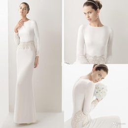 Wholesale Short Casual Wedding Ivory - Fall Winter Long Sleeves Wedding Dress Floor Length Sheath Satin Casual Wedding Bride Dresses Inexpensive Bridal Gowns With Beading