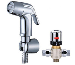 Wholesale Hot sale Chrome shattaf toilet ABS bidet sprayer Head with hot cold water Wash Mixing valve