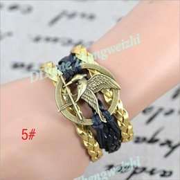 Wholesale 2015 Hunger Games Infinity Bracelets Multi Layer Braided Leather Handmade Combination Pattern Colorful Charm Bracelets Valentine s Day gift