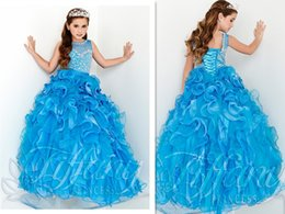 Wholesale Beaustiful Sky Blue Scoop Flower Girls Pageant Dresses Vestidos De Primera Comunion Cascading Ruffles Kids Evening Weddings Ball Gowns