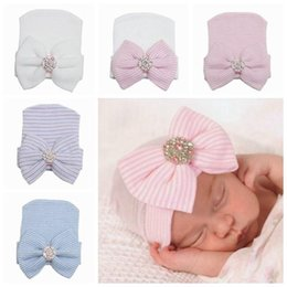 Wholesale new newborn knit beanie hats baby boy girls big bows caps toddler kid cotton crochet wraps infant unisex hair accessories photography bonnet