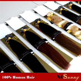 "XCSUNNY Keratin Nail Tip U Tip Hair Extensions 18"" 20"" Malaysian Human Hair 100g 1g s U Tip Keratin Fusion Human Hair Extension"