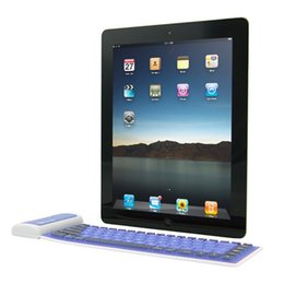 Portable Bluetooth Wireless Keyboard Waterproof Soft Silicone skin For Apple IOS System Ipad Air Air2 Tablet Foldable Universal 1pcs Sample
