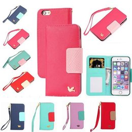 Wholesale Nice Korea Flying bird handbag case lady leather wallet case with card slot for iphone SE plus s Samsung galaxy Note S6 edge plus
