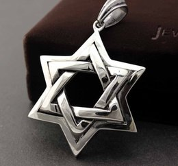 Silver tone religious Jewish star stainless steel pendant Magen David Star of David charm
