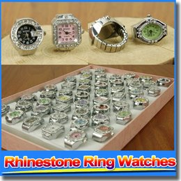 Wholesale Lovely Watches Womens Girls Ring Watches Rhinestone Skeleton Luxury Finger Watches With Calendar Ladies Dress Decoration