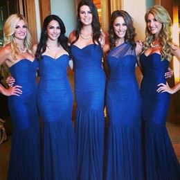 Free Shipping Royal Blue Ruched Sweetheart Neckline Mermaid Long Bridesmaid Dresses No Sleeve Sexy Evening Prom Gowns Cheap Tulle Elegant