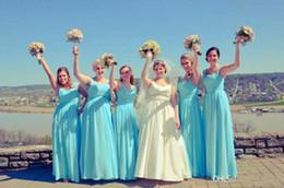 Light Sky Blue Bridesmaid Dresses 2015 Chiffon Elegant Sweetheart Cheap Floor Length Long Maid Of Honor Dresses