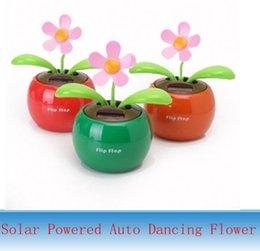 Wholesale New Flip Flap Solar Powered Auto Dancing Swing Flower Orange Flowerpot Swing Toy for by DHL