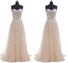 IN STOCK 2019 Cheap Long Prom Dresses Sequins A Line Sweetheart Tulle Lace Up Lilac Blue Coral Party Bridesmaid Dresses Evening Gowns