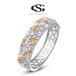 015 G&S CZ Stone Summer gifts Platinum Plating Luxury Colorful Bangles Arrow Heart cuting for Queen Statement Jewelry