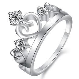 Top high imitation diamond ring Wedding Ring platinum plating,Korean fashion to high -grade fine diamond crown ring rhodium DJ914