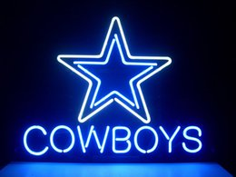 Promotion signes de cow-boy NOUVEAU DALLAS COWBOYS REAL NEON LIGHT BEER BAR PUB SIGNE C156