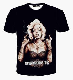 FG1509 Date sexy hommes / 3D roses t chemises pour femmes imprimé graphique occasionnel Marilyn Monroe floral t-shirt d'été de la mode en tête des vêtements à partir de imprimé floral t-shirts femmes fabricateur