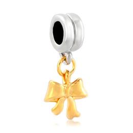 Christmas Golden ribbon Dangle Spacer metal slide bead European charm fit Pandora Chamilia Biagi charm bracelet