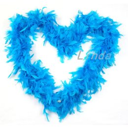 2pcs Beautiful Blue Color Marabou Feathers Boa Scarf (2yards pcs) Turkey Feather Boa For DIY Craft