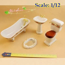 Wholesale scale Dollhouse Miniatures Toilet Bathroom Set Furnishings Bathtub Basin Mirror