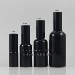 100ml shiny black Glass lotion bottle with black aluminum pump,cosmetic packing,cosmetic bottle,packing for liquid