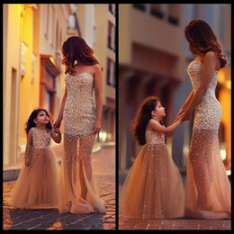 Wholesale 2015 Mother Daughter Matching Dresses Mermaid Tulle Pearls Prom Party Dress Elegant Long Formal Dresses Evening Dresses