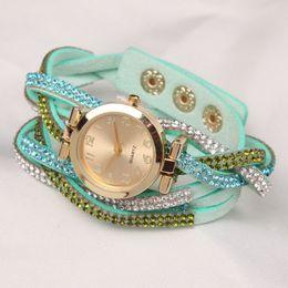DHL 2015 fashion women ladies leather bracelet watch Velvet Wrap Watches diamond retro vintage quartz watch