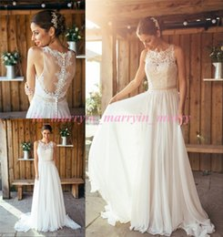 Wholesale 2016 Spring Amanda Wyatt Boho Wedding Dresses A Line Crew Plus Size Long Chiffon Bohemain Greek Wedding Gowns Summer Beach Bridal Dresses