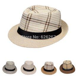 Wholesale-2015 New Fashion Unisex Straw Fedora Panama Trilby Strip Cap Summer Beach Sun Linen Hat Casual Hat for women men Free shipping