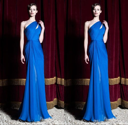 2016 Zuhair Murad New Royal Blue Evening Party Dresses One Shoulder Pleats Evening Prom Gowns Custom Made Free Shipping bo9790