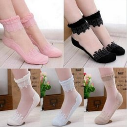 Hot sales Colorful Ultrathin Transparent Beautiful Crystal Lace Elastic Short Women Socks Calcetines Pink Sock for Womens