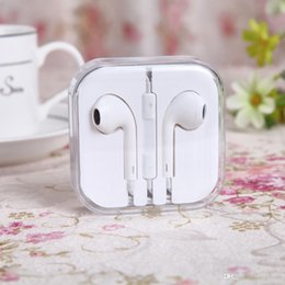 Wholesale High A Quality OEM In ear Earphone Headphones White colour with MIC Volume Control with retail box packing For iphone plus