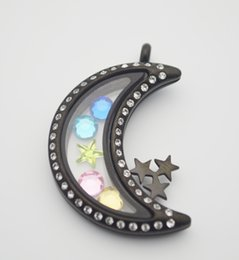 Hot Sell Stainless Steel CZ Black Moon and Star Glass Memory Locket Charm Moon Shaped Magnetic Glass Floating Locket With Crystal