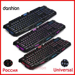 Wholesale backlit gaming keyboard English Russian switch Three Color Light red blue purple led waterproof Wired Powered Computer Peripherals