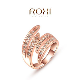 Fashion New Austrian Crystal Zircon Angel wings Ring Wedding Engagement Ring Full Size Real 24K Rose Gold Filled Fashion Jewelry A044