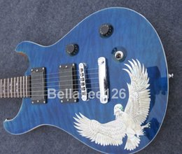 Wholesale blue flame maple top with Eagle guitars,100% solid wood items,popular music instrument Paul Smith electric guitar